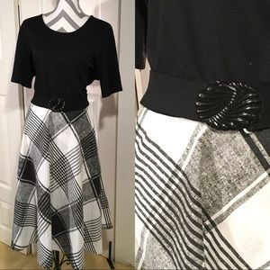Vintage black and white with plaid dress